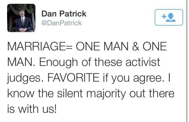 Dan Patrick Marriage Equality Tweet